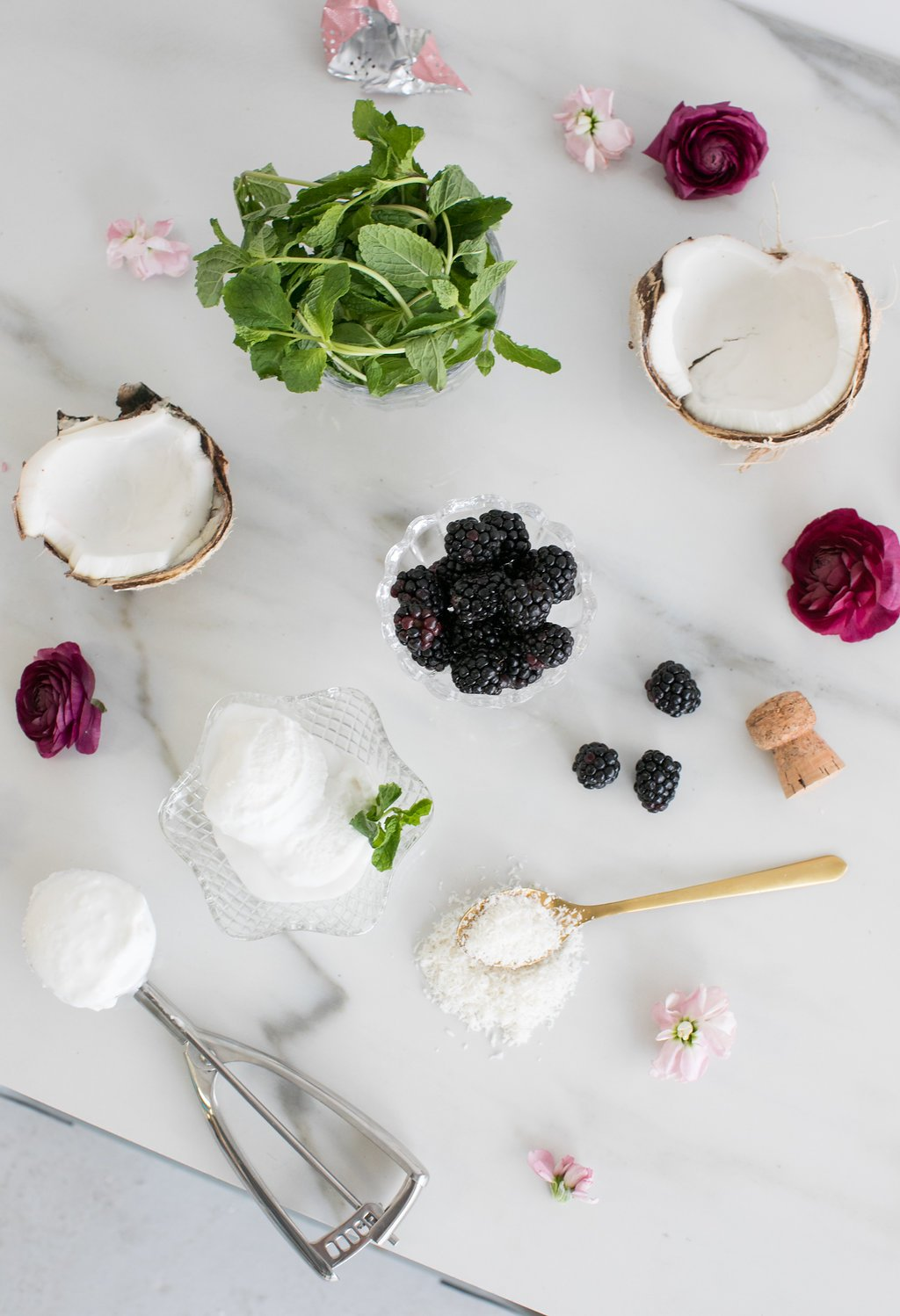 Ingredients for floats in dishes including sorbet and blackberries, with ice cream scooper and gold spoon