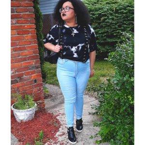 Black & White Tie-Dye Hook & Eye Strap Girls Crop Top Plus Size