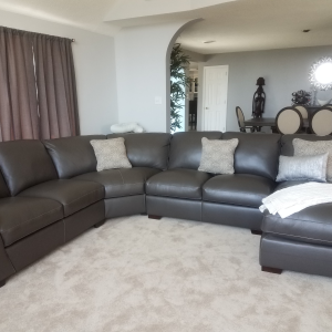 Carpenter 4 Pc Leather Sectional Sofa Slate Raymour Flanigan