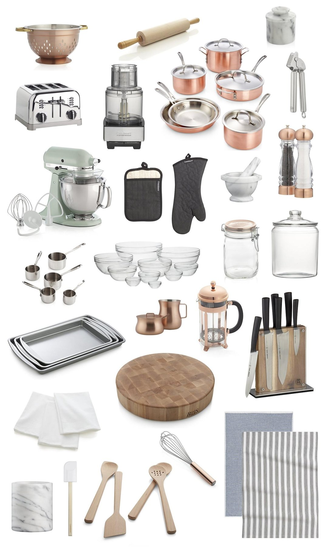 Collection of copper, glass and stainless steel kitchen accessories