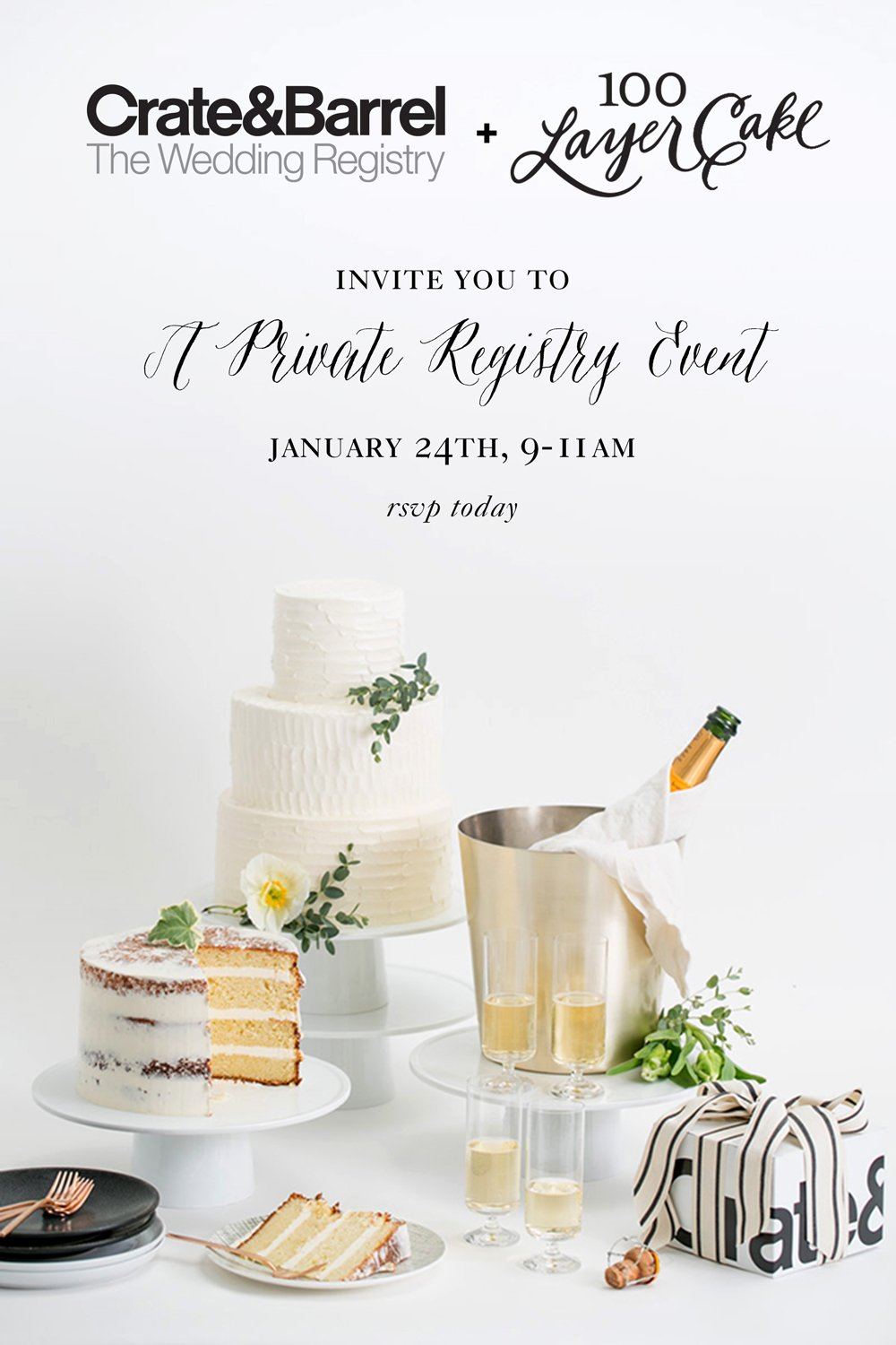 Crate Barrel Wedding Registry.Private Registry Event With 100 Layer Cake Crate And