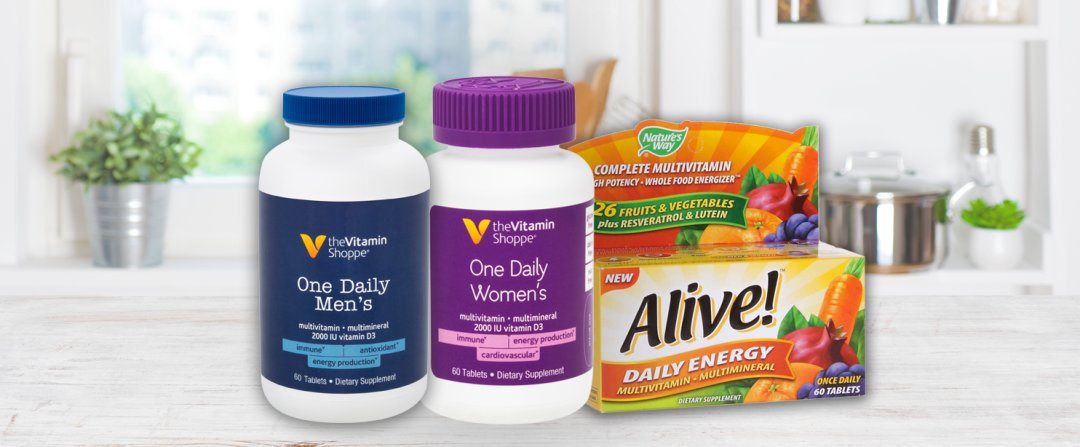 Shop the Vitamin Shoppe One Daily Men's Multivitamin & Multimineral with Vitamin D3 (60 Tablets), the Vitamin Shoppe One Daily Women's Multivitamin & Multimineral with Vitamin D3 (60 Tablets), Alive! Daily Energy High-Potency Multivitamin and more