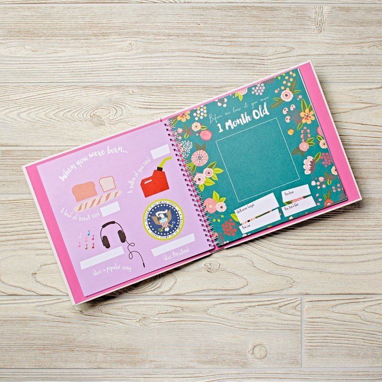 A floral patterned baby book for a baby girl