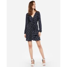 Shop Knotted Front Faux Wrap Dress Blue Women's S and more