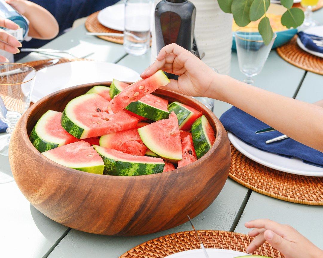Watermelon in wooden bowl