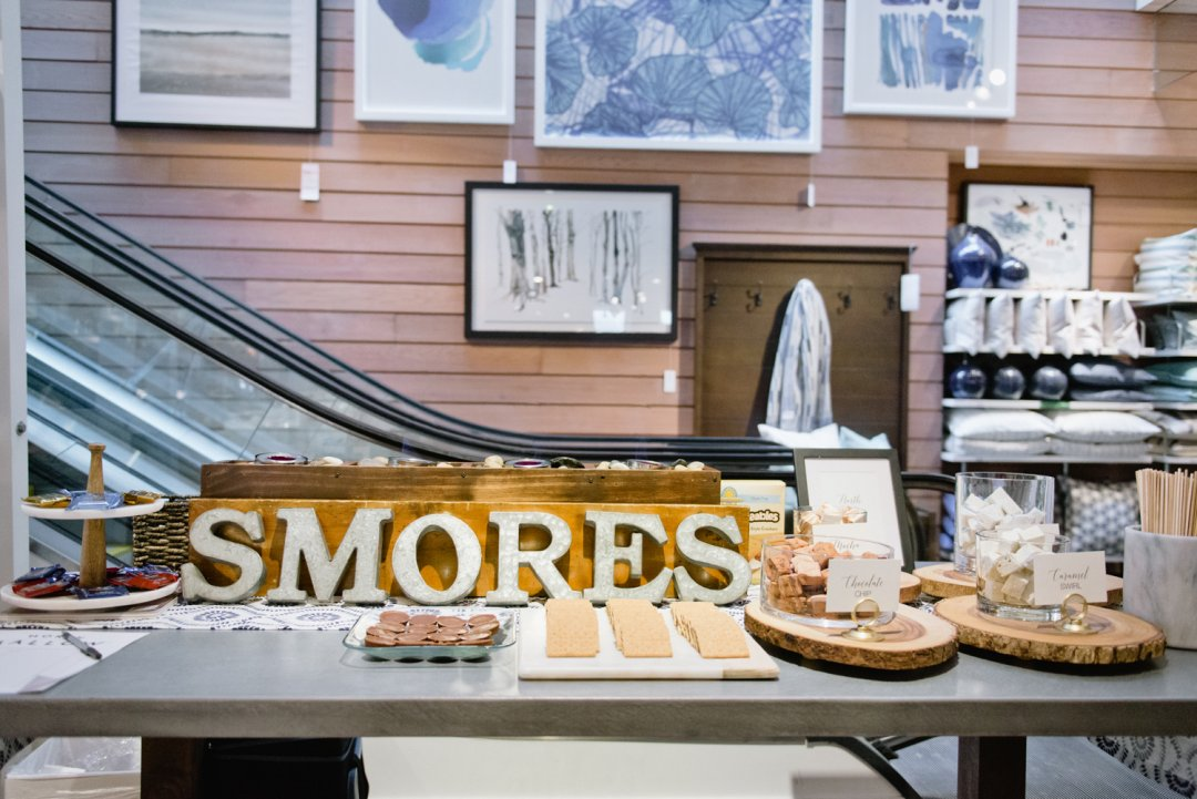 S'mores bar setup at Private Registry event