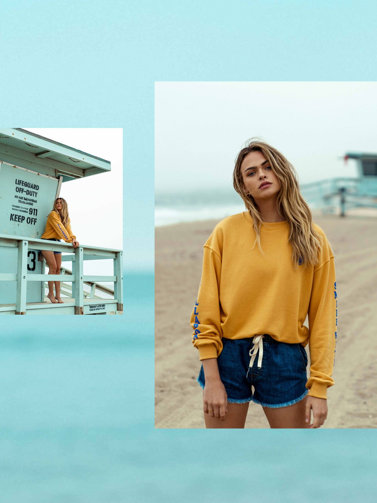 Smile With Me Crew Fleece & Coast Line Denim Short