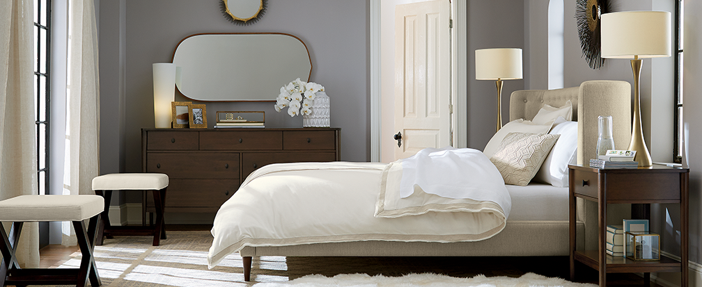 grey. Unexpected Bedroom Decor Ideas   Crate and Barrel