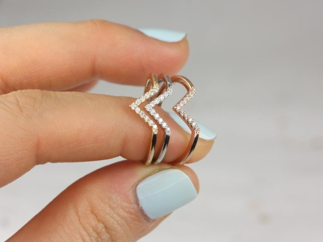 chevron style stacking gold ring with diamond stones
