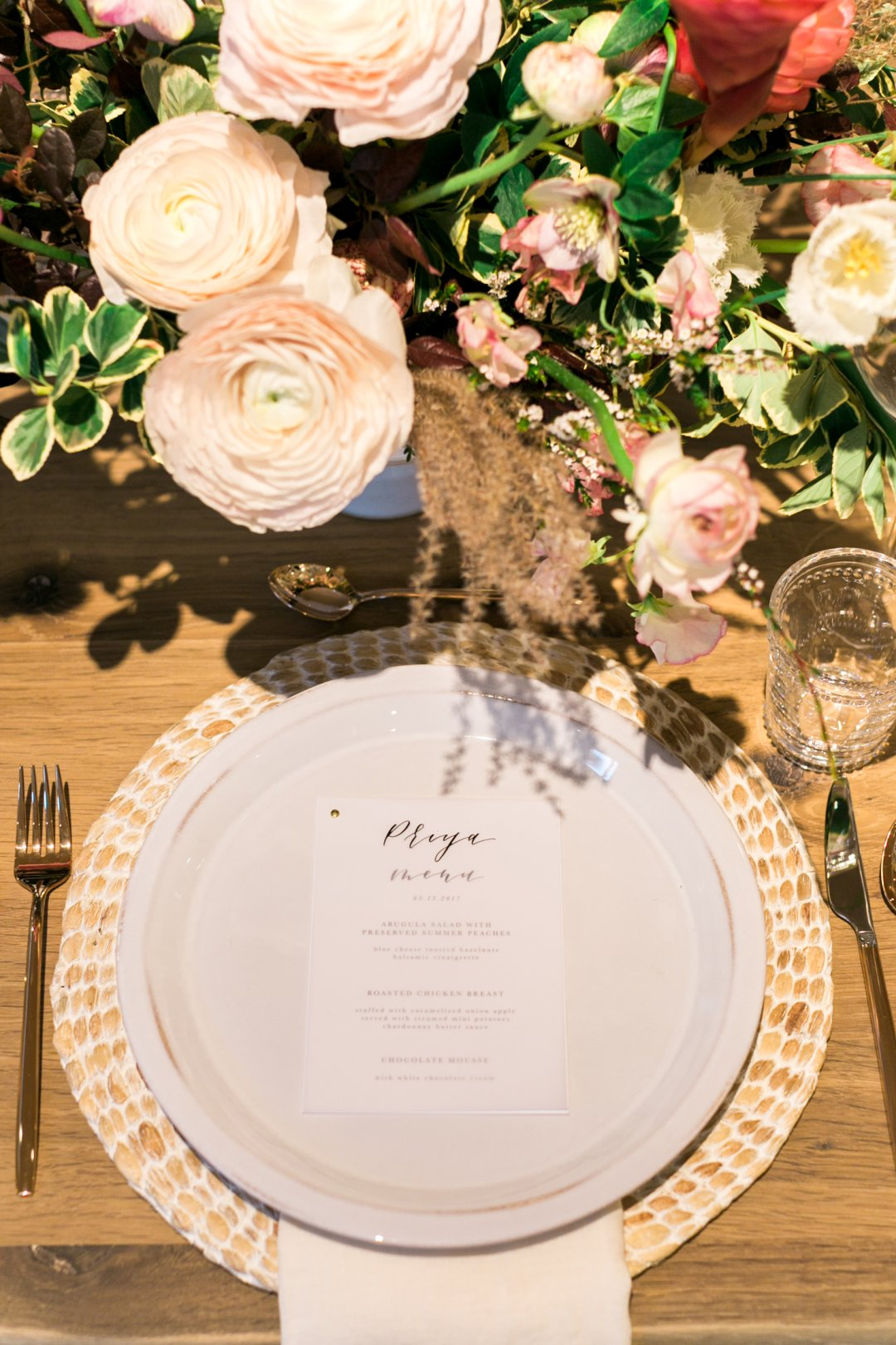 White dinner place placesetting on table