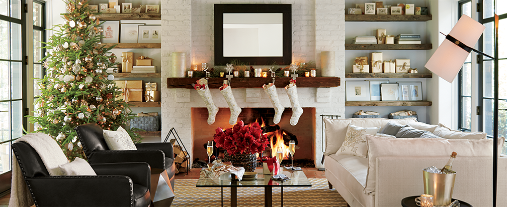 How to decorate your home for christmas crate and barrel - How to decorate living room for christmas ...