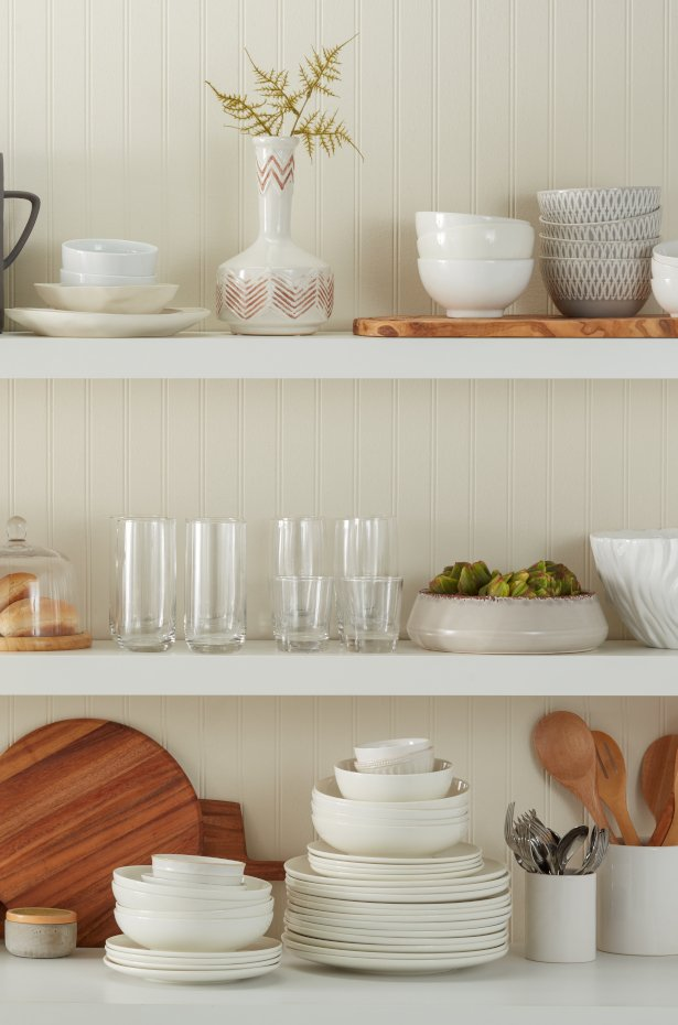 Maximize small dining room storage with floating shelves