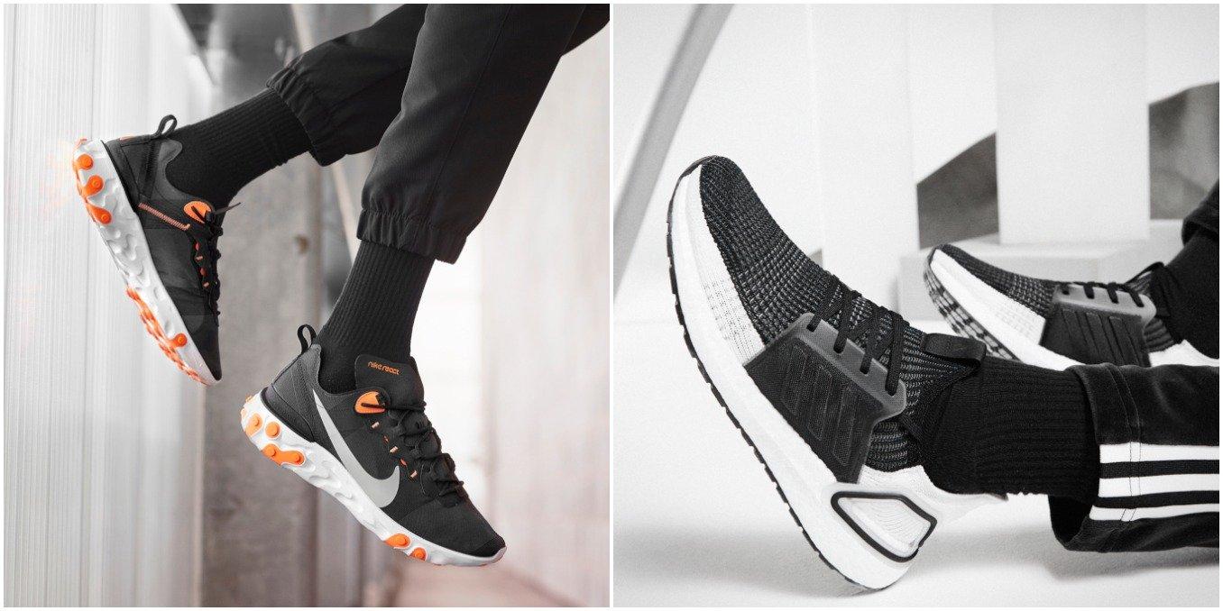 Nike Epic React Element 55 y adidas Ultra Boost 2019