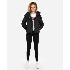 Shop Fold-Over Collar Puffer Coat Black Women's L and more