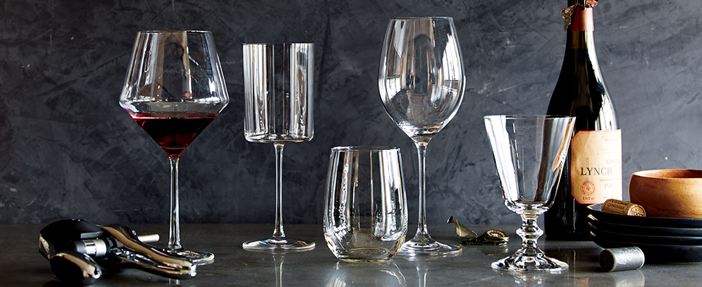 Variety of wine glass styles and shapes