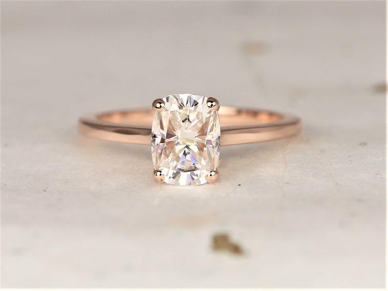 White Darla Rectangular Engagement Ring