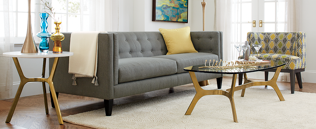 Aidan grey tufted sofa in contemporary