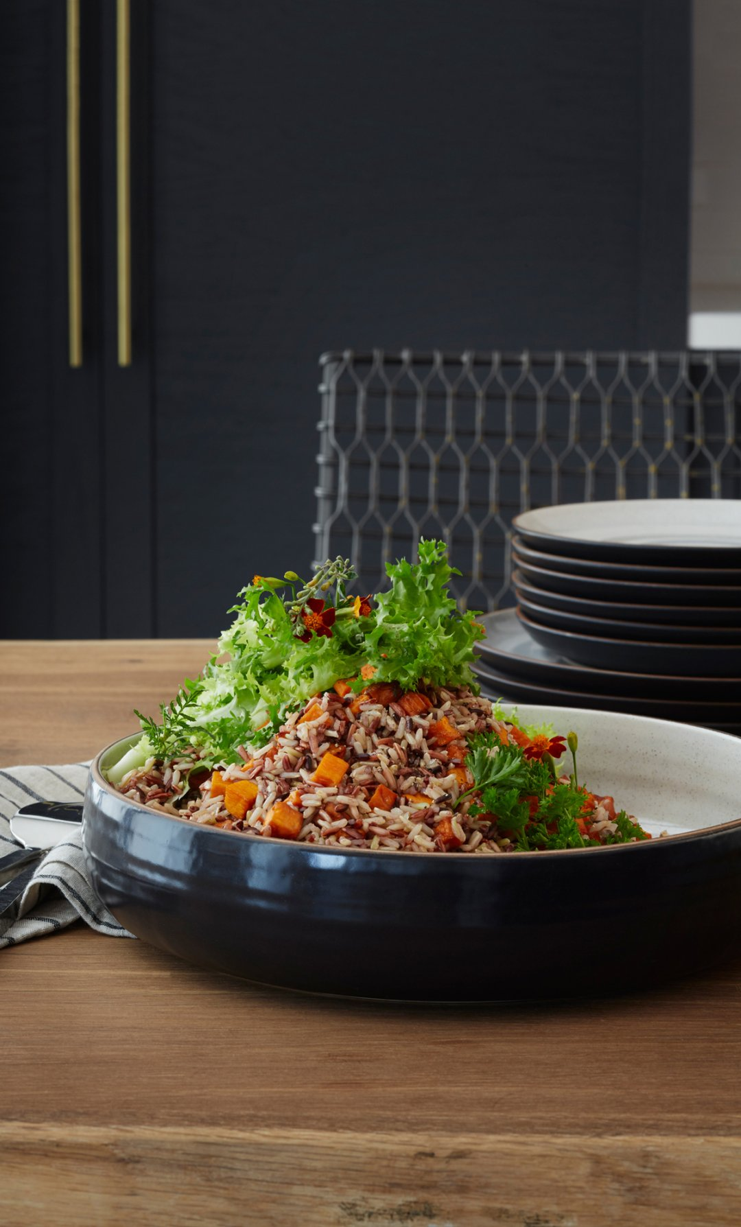 Wild Rice bowl served on table