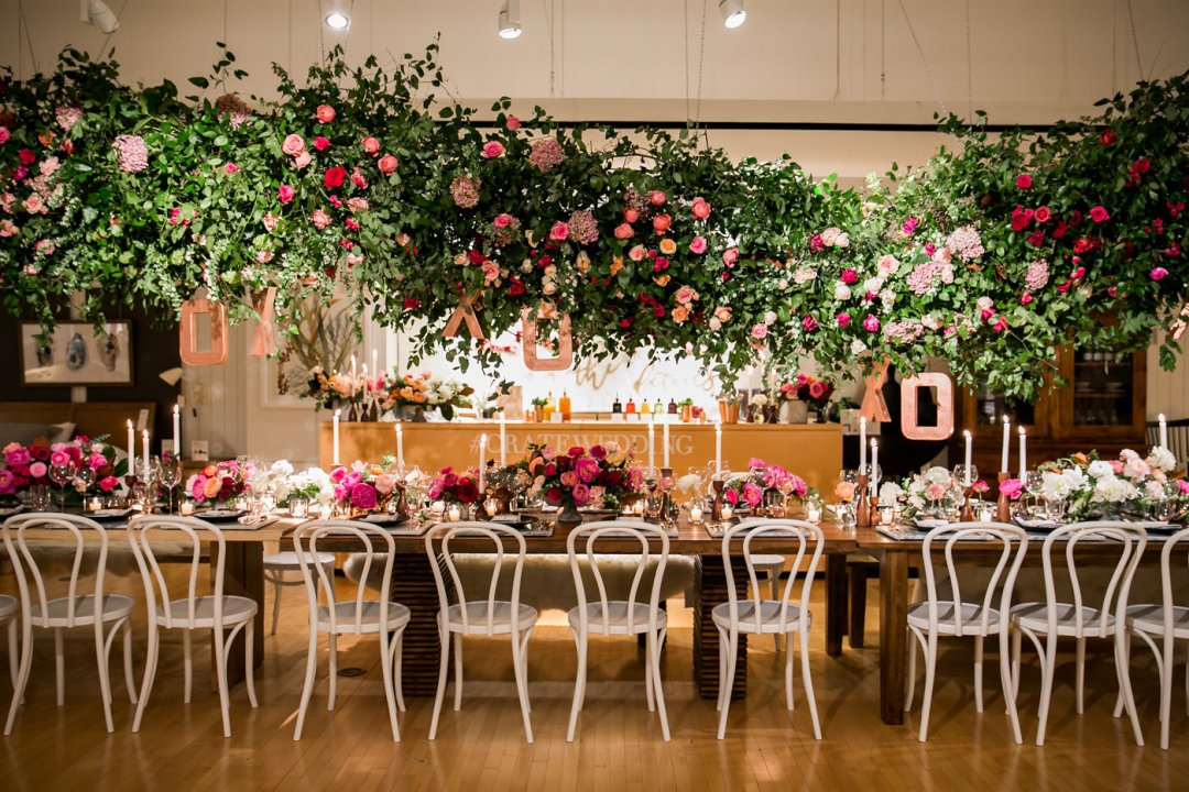 Table is set for Valentine's Day with florals