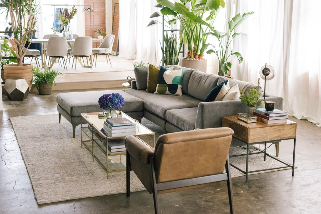 Curated image with Andes 3-Piece Chaise Sectional – Velvet Metal, Hieroglyph Print Wool Rug, Slat...