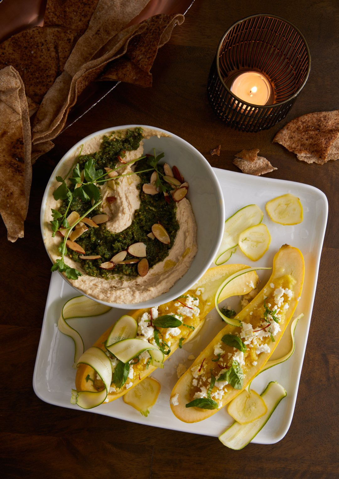 Yellow Squash and Feta Dip served in yellow squash