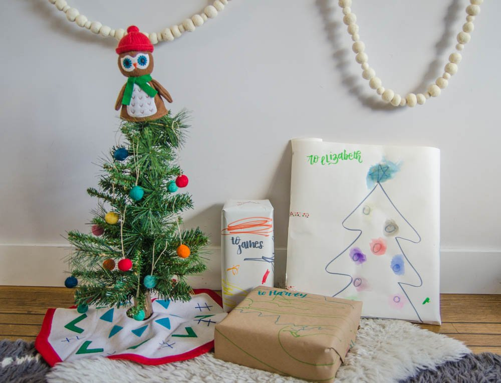 DIY Children's Holiday Wrapping Paper