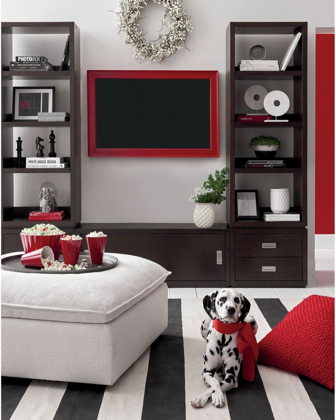 Curated image with white ilex berry wreath aspect coffee modular open bookcase white marble