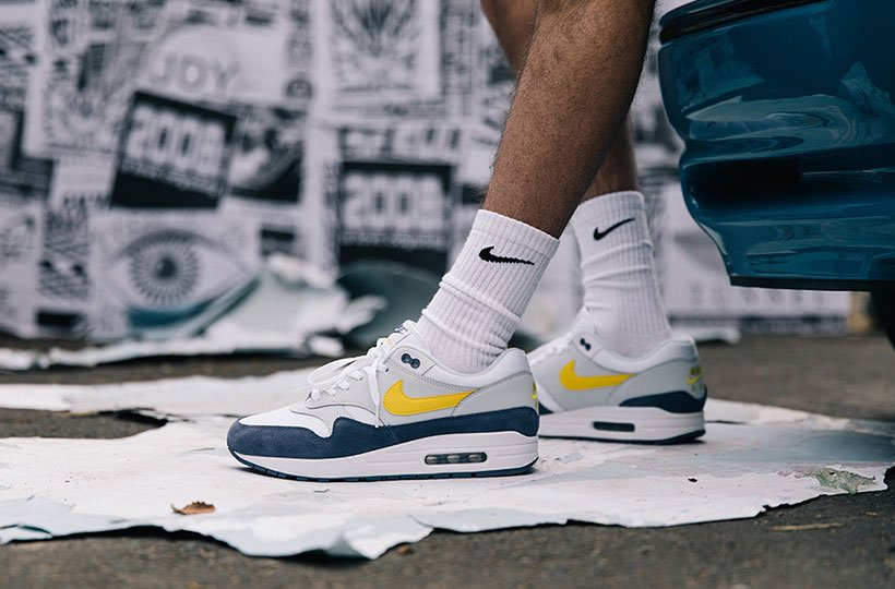 separation shoes 3763d e7841 ... switzerland nike air max 1 trainer white tour yellow blue recall ae2ad  23544