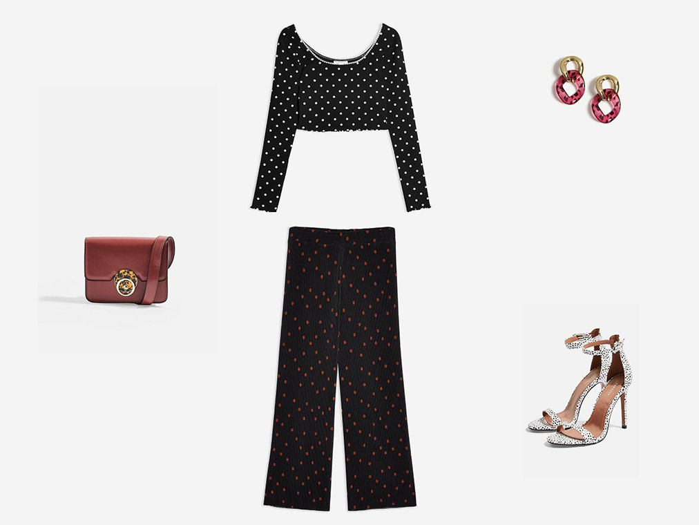 Shop Womens Long Sleeve Polka Dot Crop Top - Black, Womens Spot Plisse Trousers - Black, Womens Dazzler Belt Bag - Blush, Womens Resin Link Drop Earrings - Pink, Womens Susie Monochrome Two Part Skinny Heels - Monochrome and more