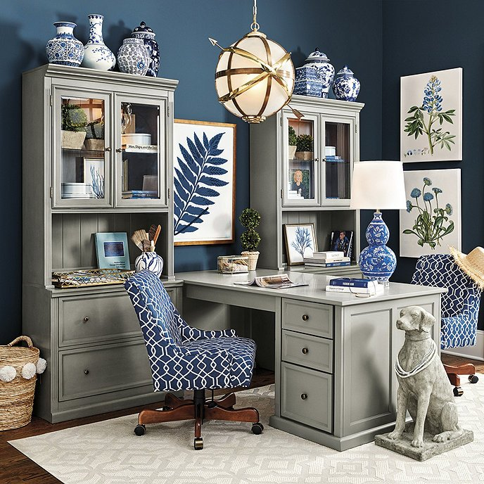 Blue And White Office: Tuscan Desk Return With 2 File Consoles And 2 Hutches