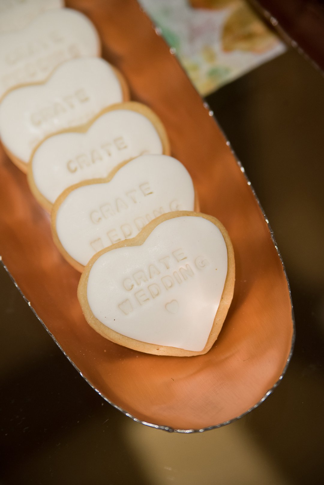 Crate Wedding cookies in copper tray
