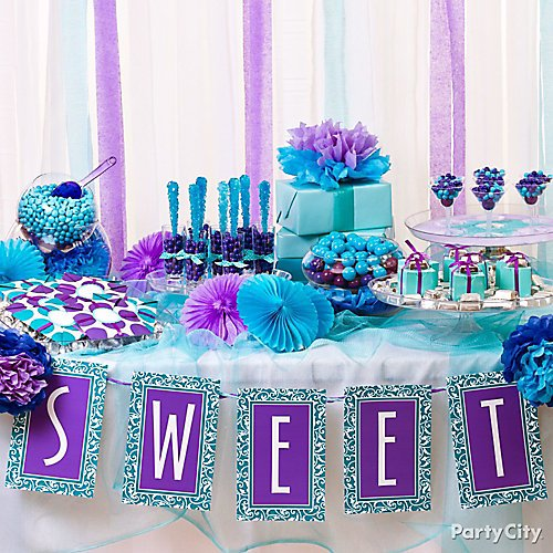 purple and blue candy buffet ideas party city
