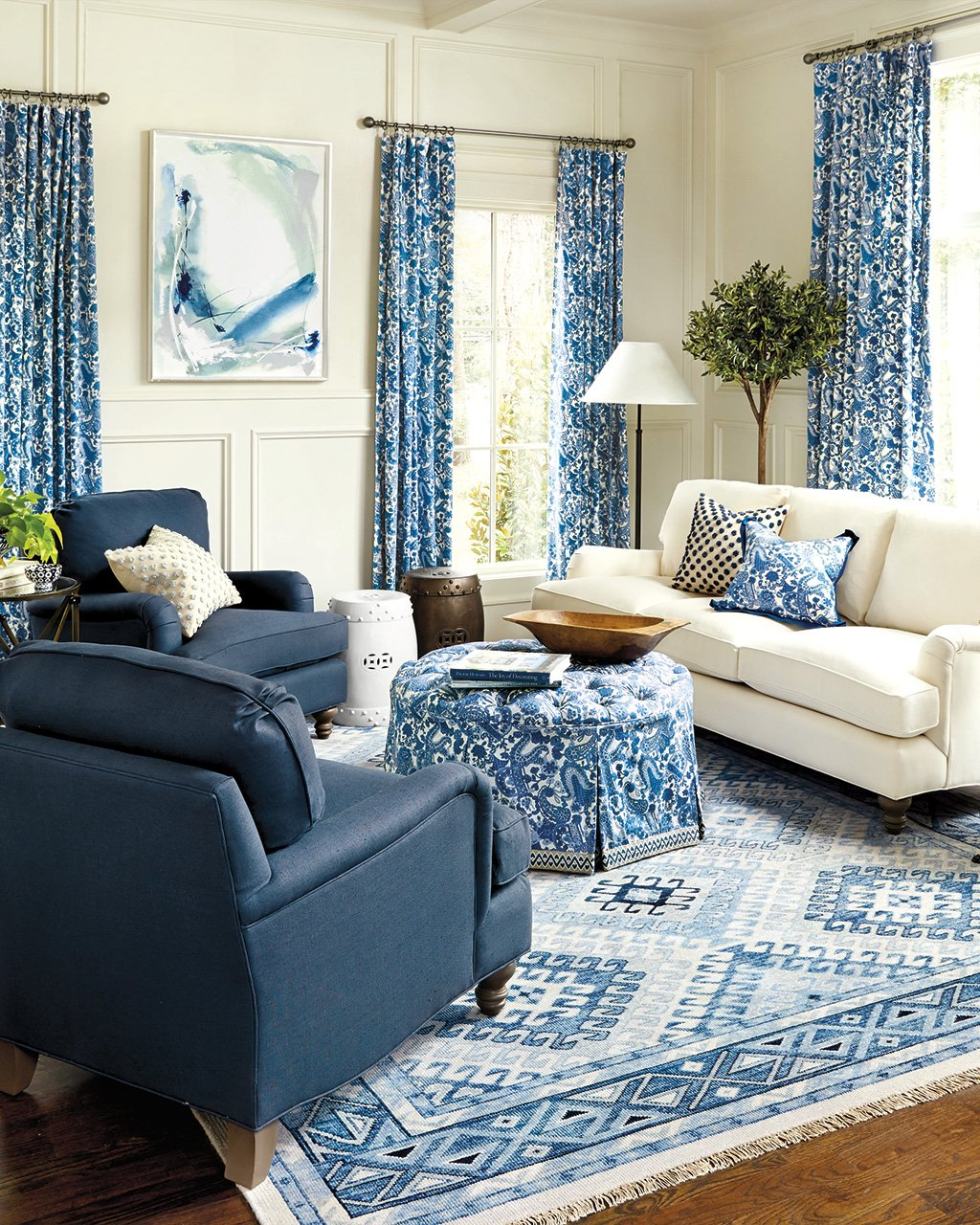 15 ways to layout your living room how to decorate shop charlotte drapery panel charlotte pillow eton sofa hayes ottoman ballard designs classic garden seat and more