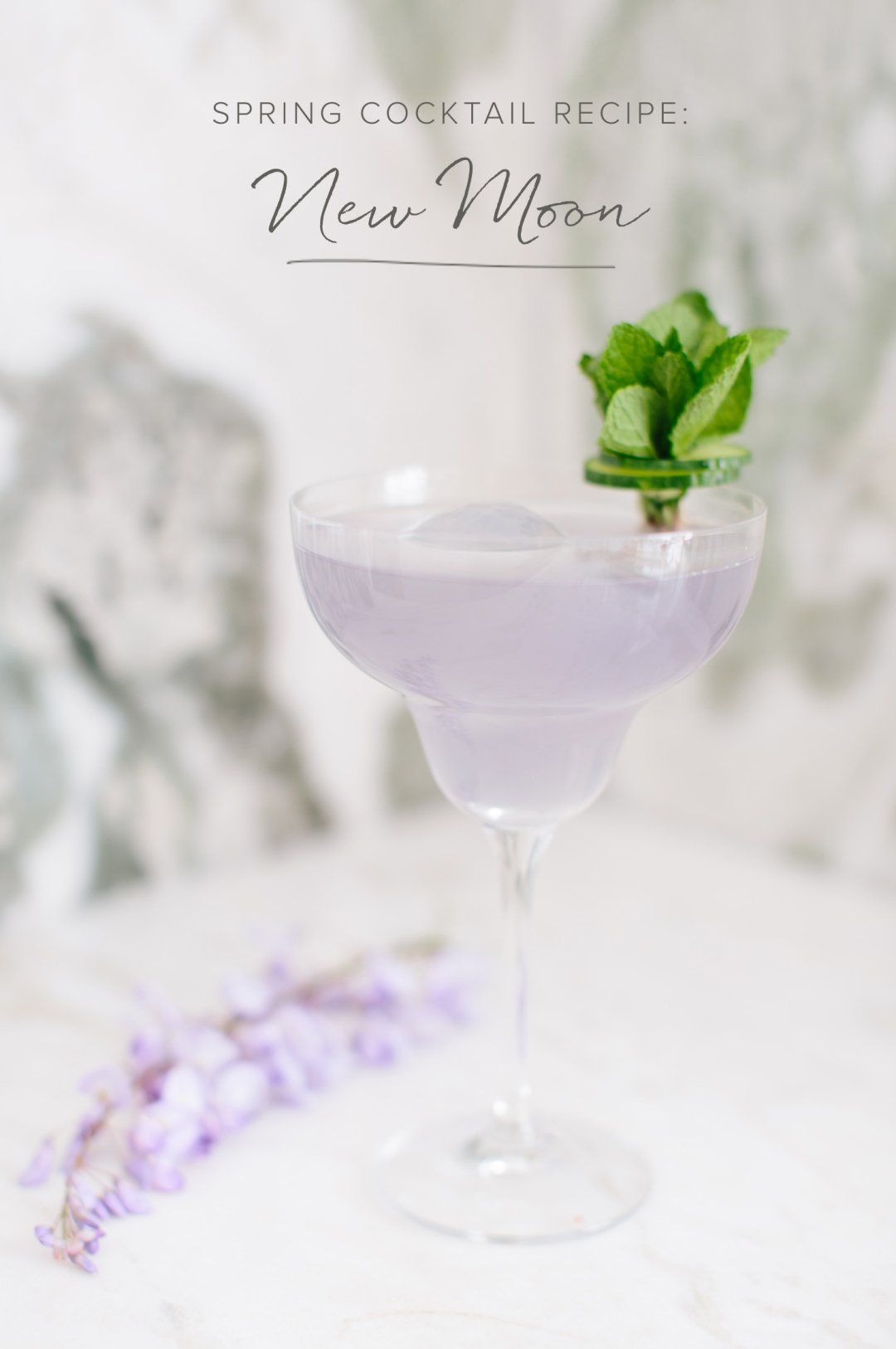 A violet lemon gin cocktail served up in a Glory Margarita glass