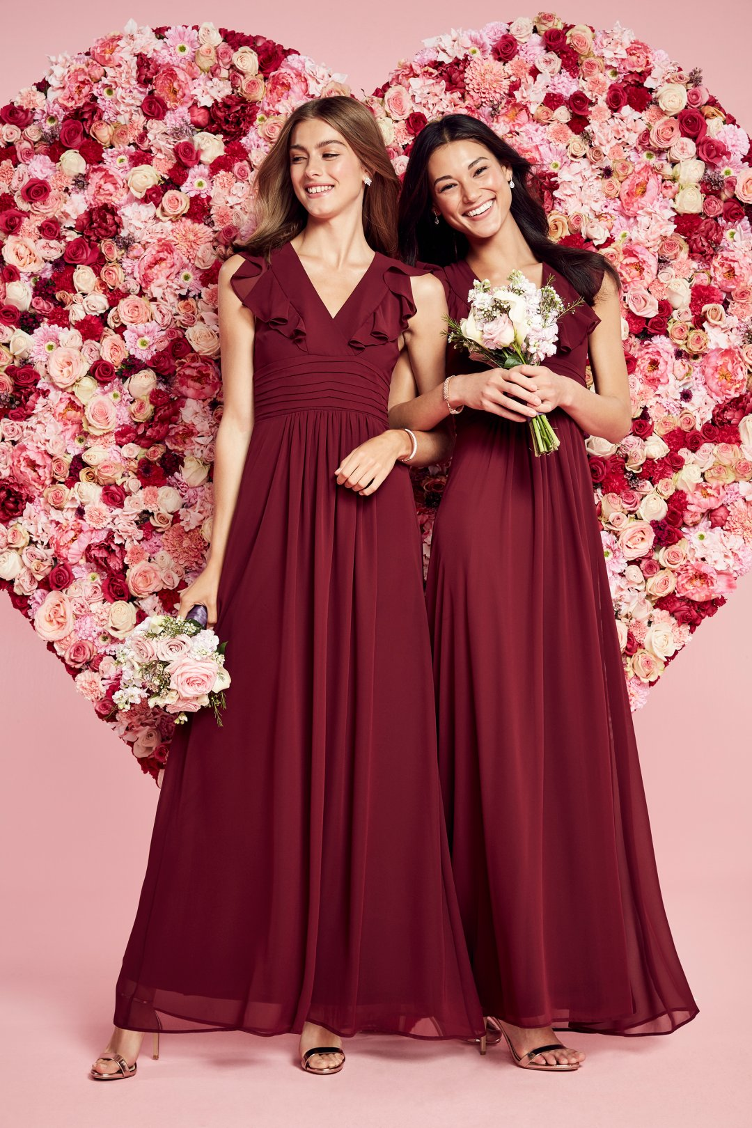 a99555ff9dd Curated image with Ruffle Sleeve Open Back Chiffon Bridesmaid Dress -  Merlot (Red)