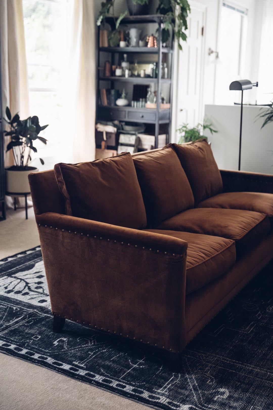 Custom velvet sofa in cognac