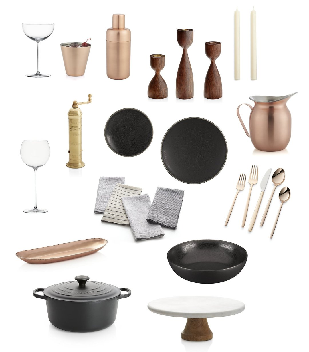 Black cookware and dinner plates, copper serverware and rose gold flatware