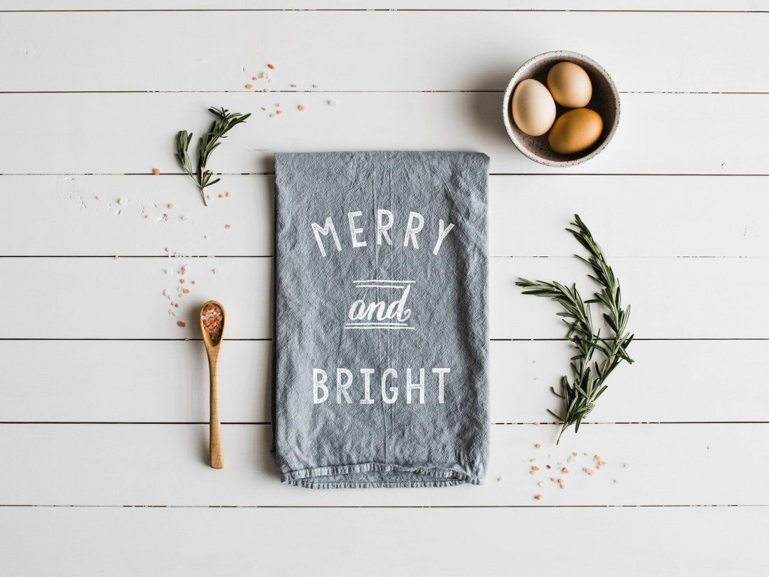 Shop Merry and Bright tea towel from The Oysters Pearl, $18 and more