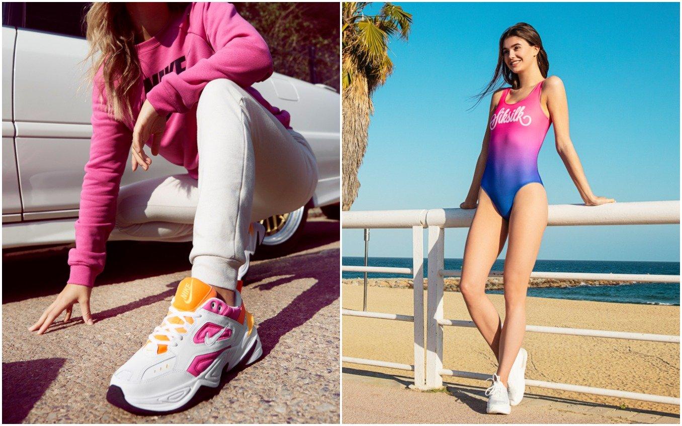 Zapatillas y bañador de mujer en colores neón