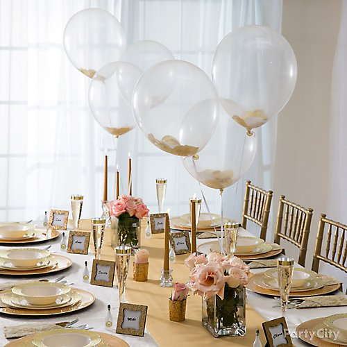 Party City Wedding Table Decorations: Gold Glam Wedding Reception Ideas