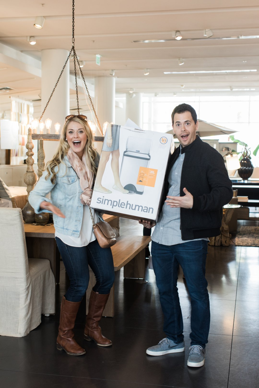 Couple wins Simplehuman trash can