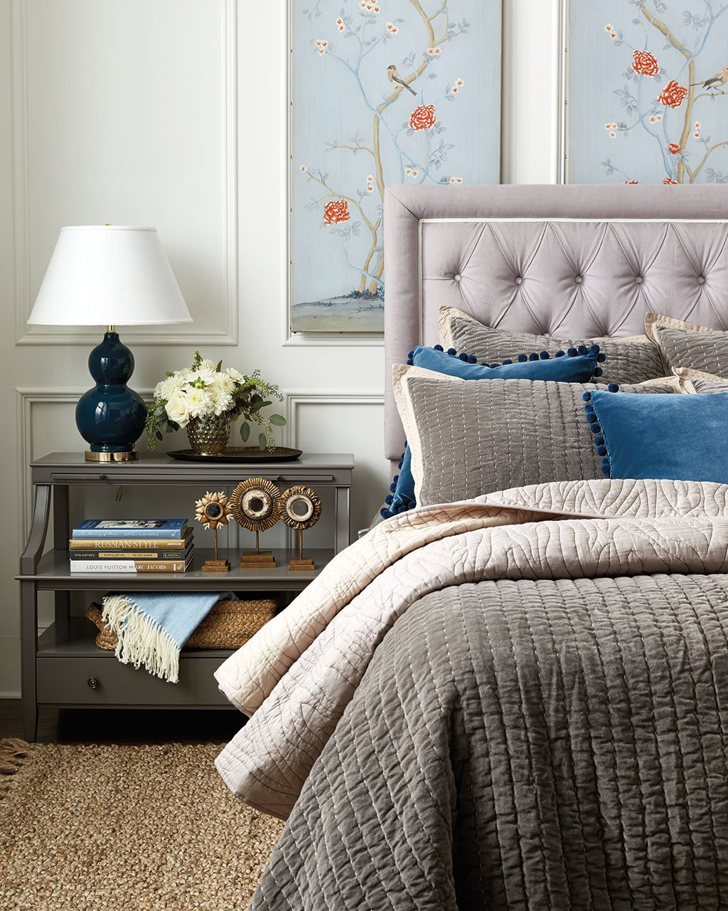 navy the new neutral how to decorate sidney open side table jardin en bleu art lucca velvet stitched quilt faux bois quilt giselle tufted headboard queen ballard designs and more