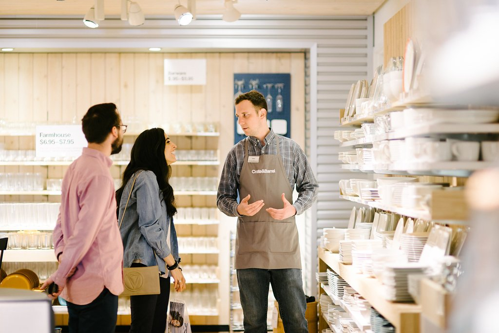 Crate and Barrel associate assists couple with wedding registry
