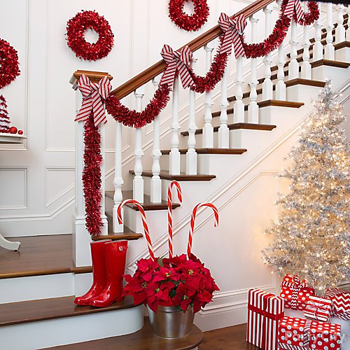 idea 5 create a holiday stairway of candy cane stripes