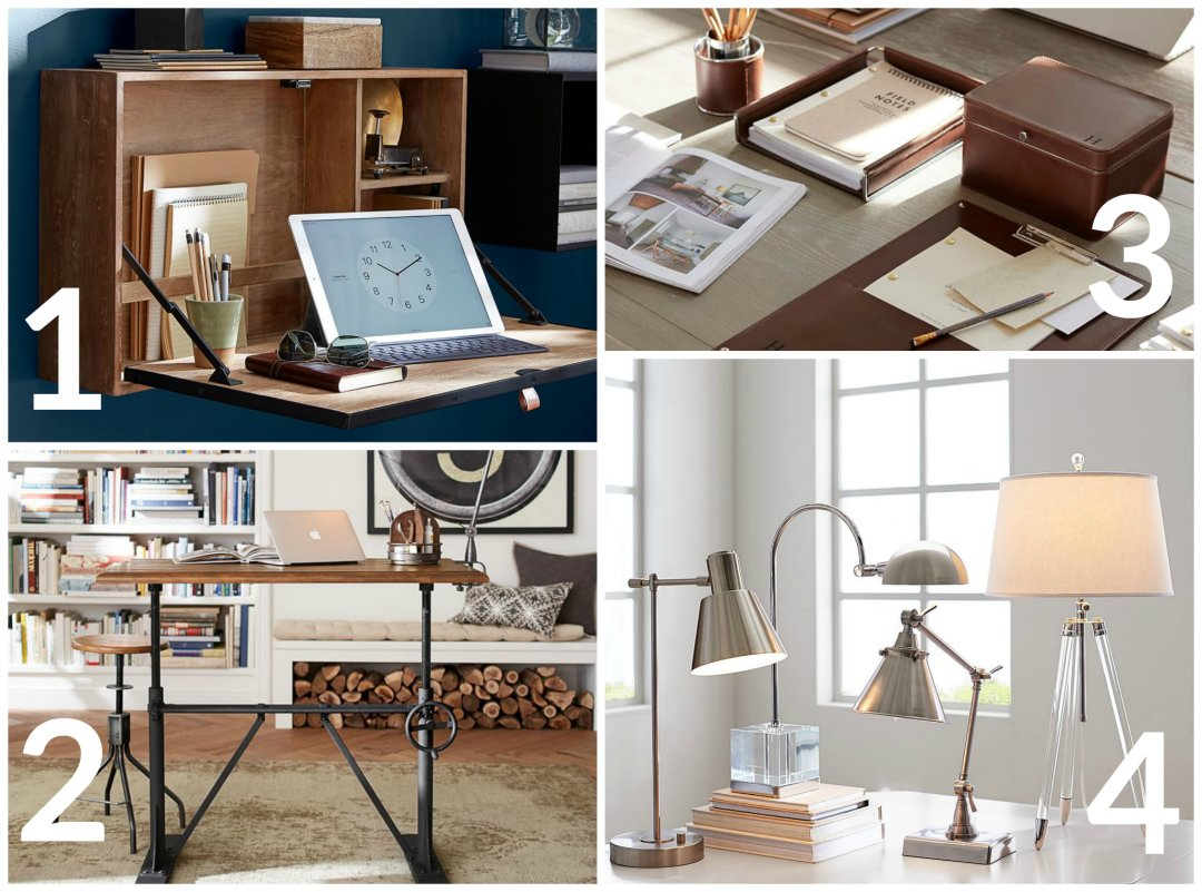 work home office 4 ways. shop wyatt workspace wall mounted desk bronze pittsburgh crank sitstand vintage chestnut drake leather caddy cognac table lamps pottery work home office 4 ways