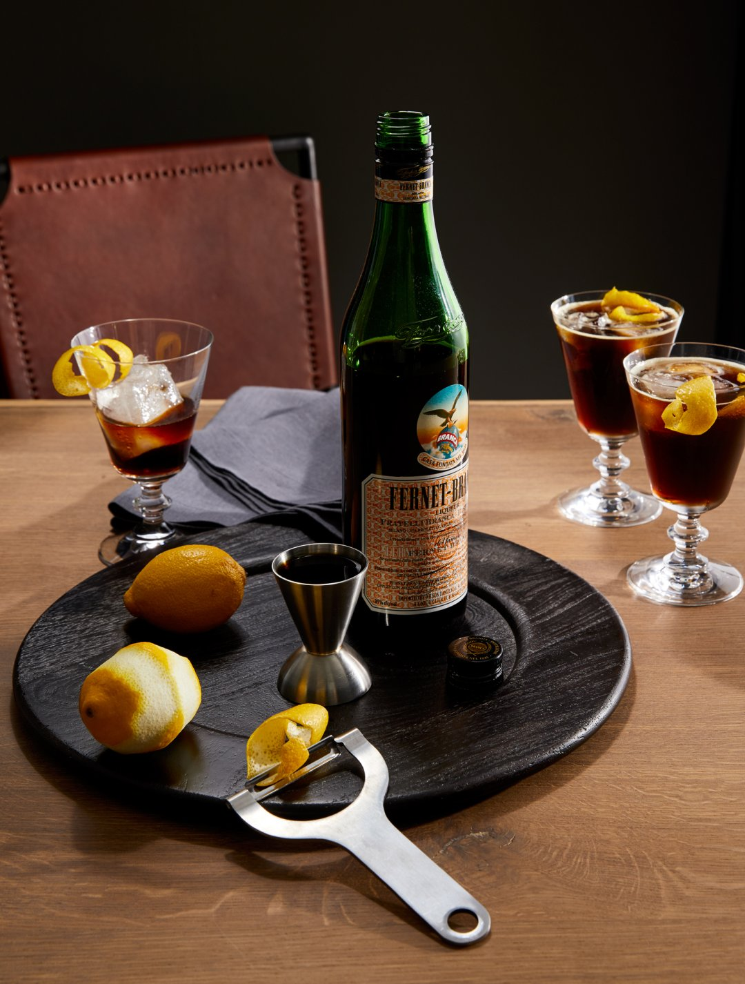 Fernet Branca and Cola cocktail served in French wine glass