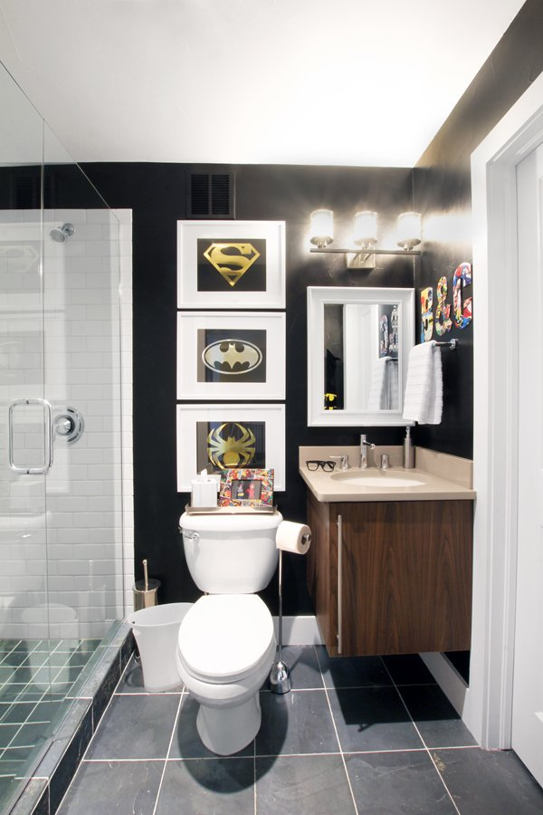 Bathroom black walls superhero art