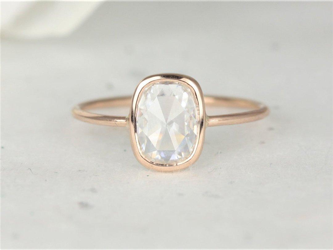 Paloma Bordered White Rectangular Engagement Ring