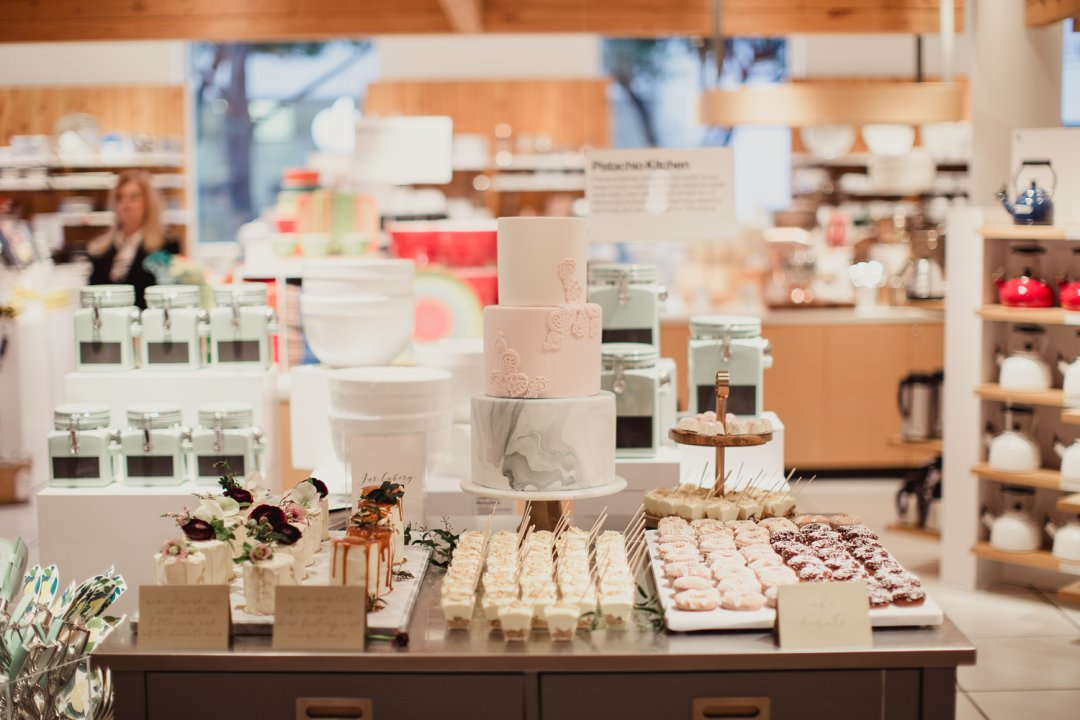 Dessert table display at a Crate and Barrel Private Registry Event
