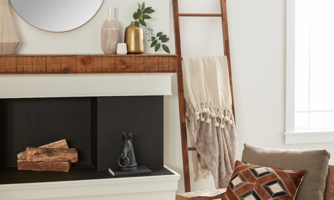 Cozy Hygge Home - Plush blankets styled on a Blanket Ladder